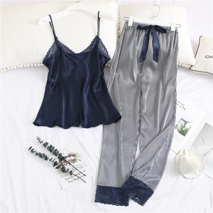 Image 3 - Pajamas For Women with Long Pants Satin Ice Silk V neck Striped Strap Lace Trim Sexy Sleepwear Nightie Womens Underwear Set
