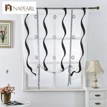 Persianas romanas cortinas de la cocina corta blanco negro tulle pura telas cortinas panel de la puerta ventana de tratamiento voile jacquard stripe