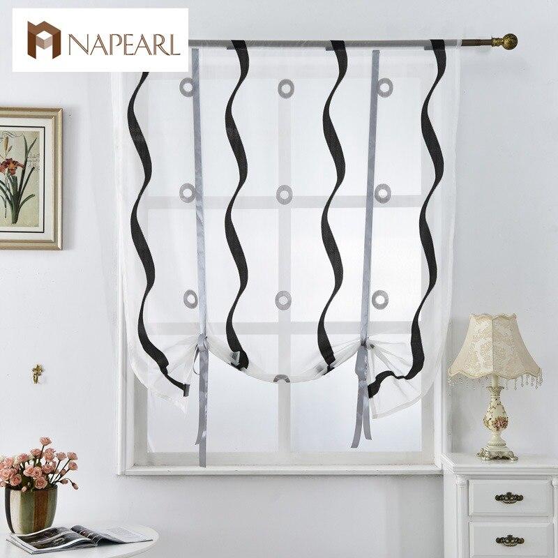 persianas romanas cortinas de la cocina corta blanco negro tulle pura telas cortinas panel de la