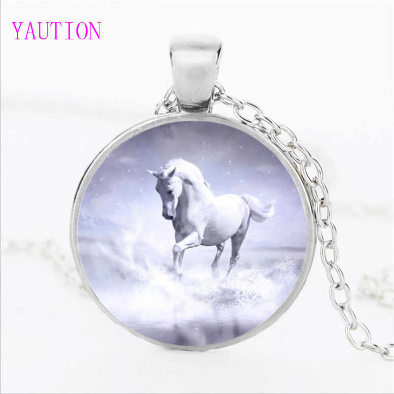 3 Color Unicorn Photo Necklace Horse Jewelry Glass Cabochon Pendant Chain Neckless Women Fashion Handmade Jewelry