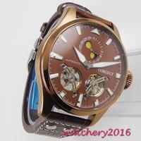 Chegam novas 46mm corgeut marrom dial fase da lua placa de bronze caso data marca superior luxo relógios de pulso mecânicos masculinos automáticos