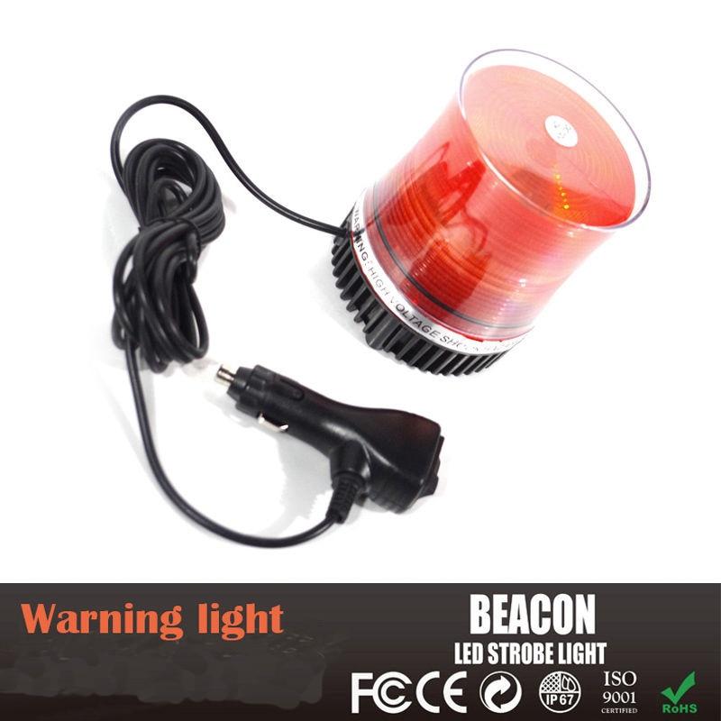 castaleca 1Pcs DC12V LED Amber Car Truck Rotating Revolving Magnetic Base Emergency Flash Strobe Light Beacon warning Roof lamp