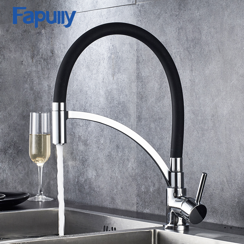 Fapully Black kitchen Taps Mixer 360 Degree Swivel 100% Solid Brass Single Handle Chrome Mixer Sink Faucets 931-33CBFapully Black kitchen Taps Mixer 360 Degree Swivel 100% Solid Brass Single Handle Chrome Mixer Sink Faucets 931-33CB