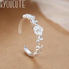 Bohemian Punk Real Silver Color Small Flower Rings for Women Statement Jewelry Big Finger