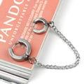 New Design 60mm Titanium Steel Silver Tone Piercing Double Ear Cuff Ring Chain Earring Punk Rock