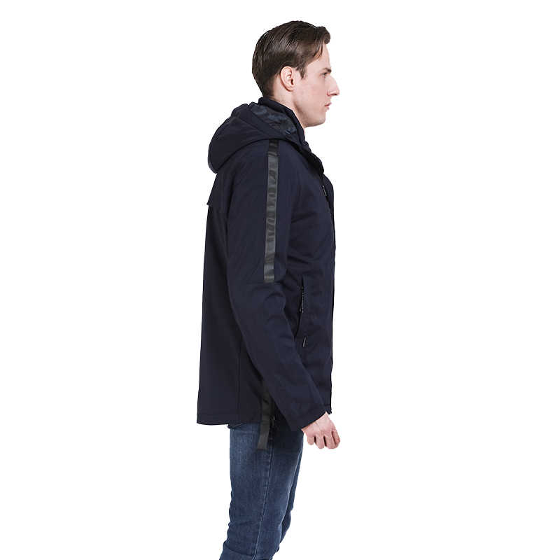 2019 春の新作メンズジャケット秋薄いパッド入りのジャケットトレンチコート男性カジュアルジャケットパーカーウォモ取り外し可能なフード生き抜くロシア