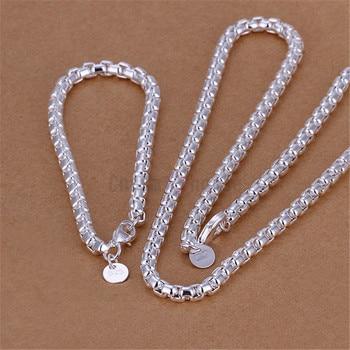 36dcb73a1fea Plata 925 joyería Set para mujeres moda 4mm caja redonda cadena pulsera  collar 2 unids boda traje nupcial joyería