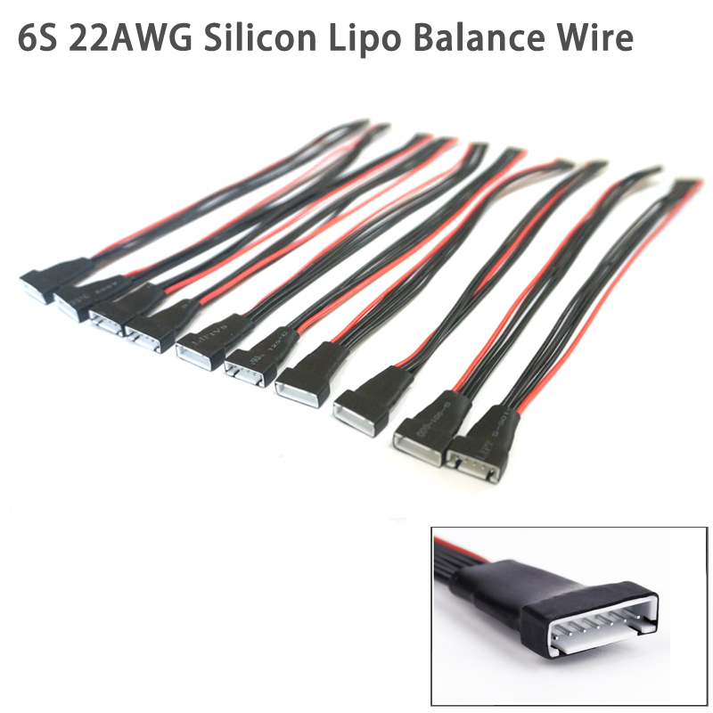 10pcs/lot 20cm 22AWG Li-Po Battery Balance Charging Extension Wire Cable Cord 2S 3S 4S 5S 6S For RC Lipo Battery