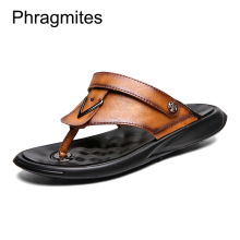 Phragmites Simple Designer Beach Flip Flops Leather Classic Roman Sandals All-match Men Shoes Fashion Rivet Thong Slippers
