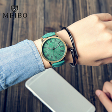 MEIBO Relojes Quartz Men Watches Casual Wooden Color Leather Strap Male Wristwatch Relogio Masculino Ladies Watch feminine watch