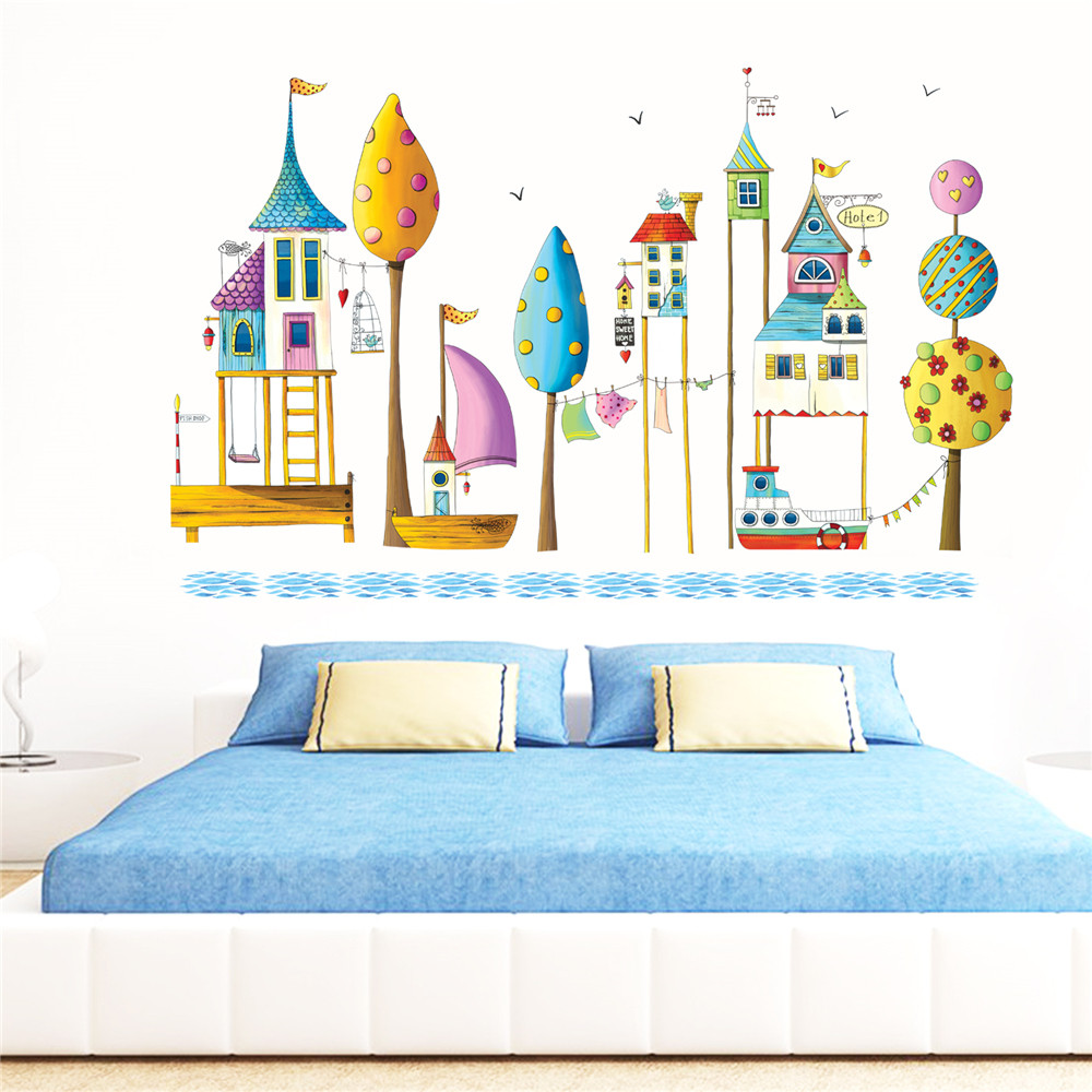 Diy dreamland cartoon house removable wall decal family - Childrens bedroom wall stickers removable ...