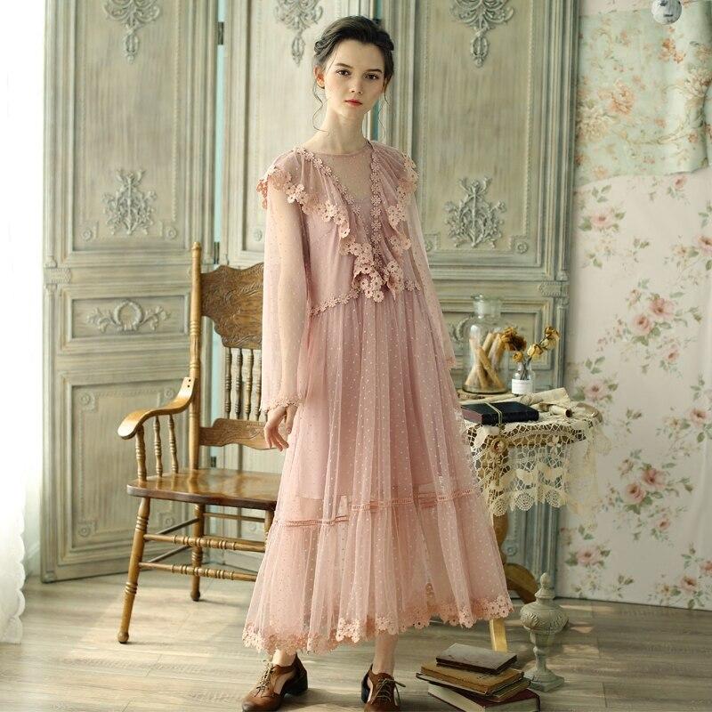 LYNETTE'S CHINOISERIE Spring Autumn Original Design Women Vintage Victoria Pink Mori Girls Dresses