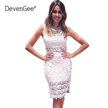 DevenGee Summer Hollow Out White Lace Dress For Women Clothing Sexy Backless Sleeveless Bodycon Party Dresses Casual Vestidos