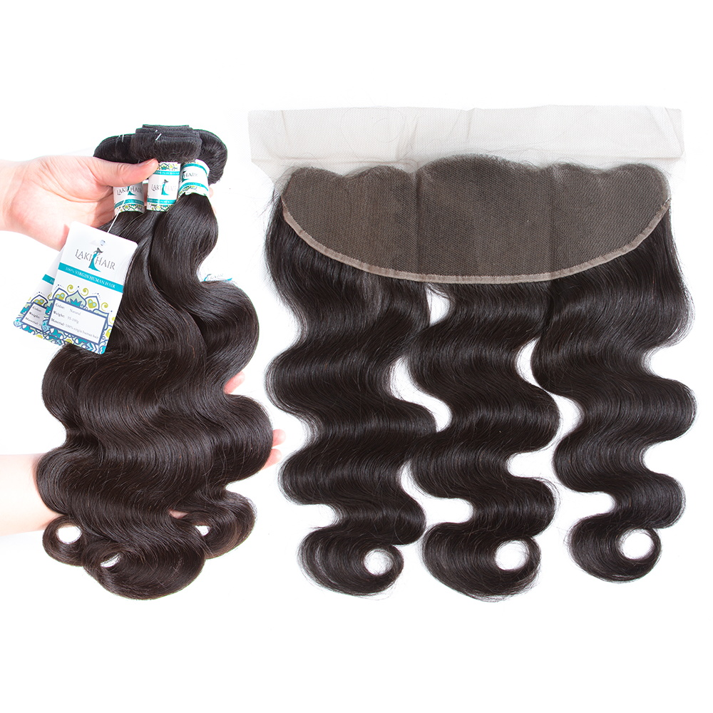 LakiHair 3 Bundles Brazilian Body Wave With 13*4 Pre-Plucked Lace Frontal Natural Black Remy Hair Free Shipping