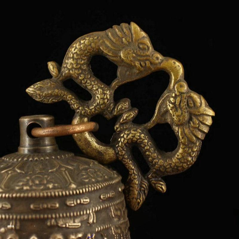 Свадебное украшение 6 Коллекционный Тибетский буддистский храм медная Статуэтка бронзового дракона висячий колокольчик Chung - 2