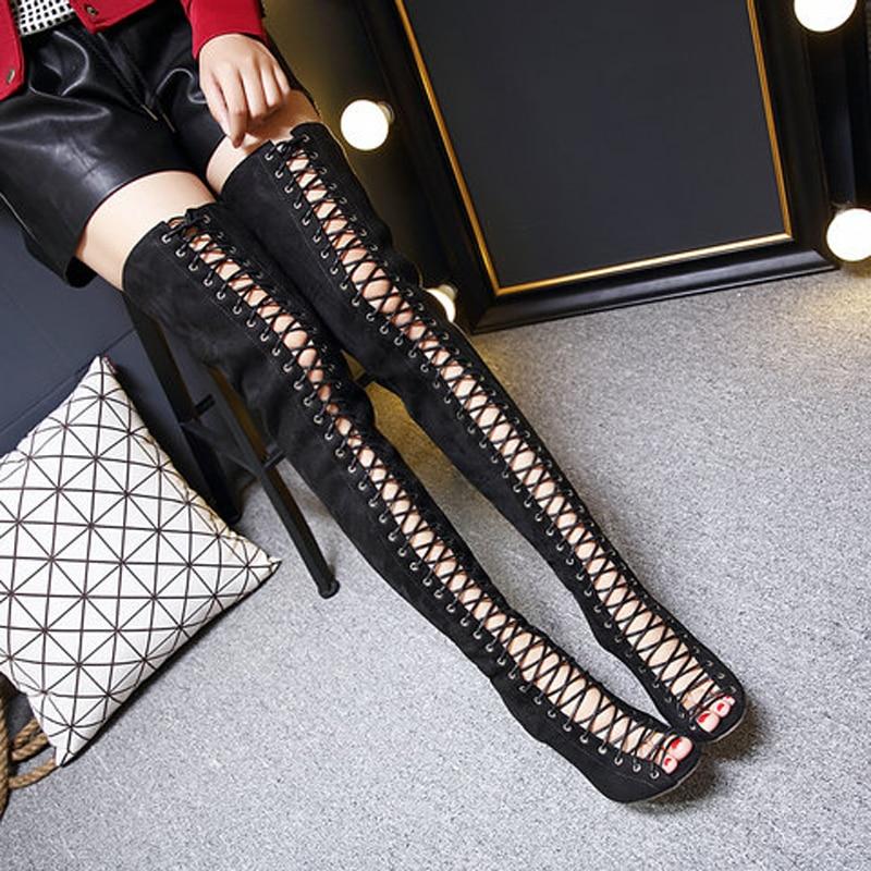 Haute Extrême D'été Luxe Peep Toe Daim Noir kaki En Gladiateur Femmes Talons Concepteur Pompes Version Sandales Marque De Bottes Noir Pour Chaussures 7PEE6q