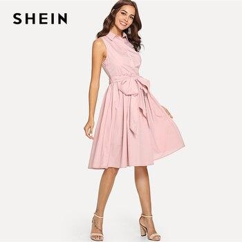 SHEIN Summer Pink High Waist Pocket Dress