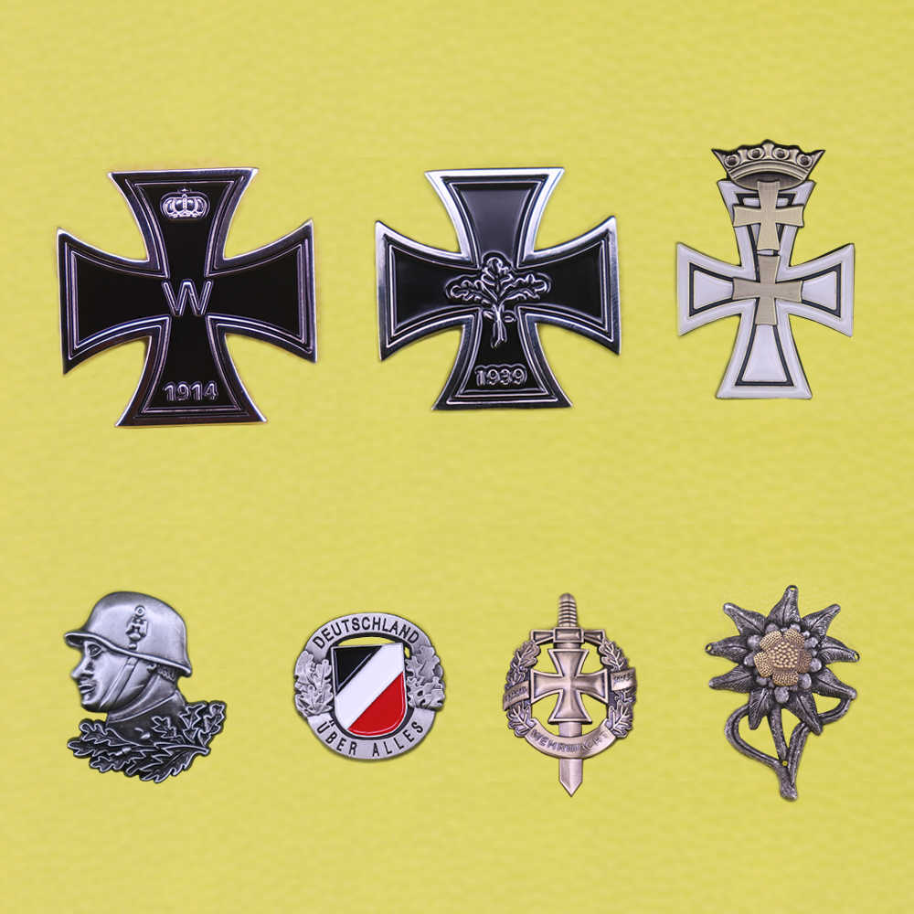 WW2 Bahasa Jerman Jerman Lencana Wehrmacht Besi Cross Pin Lencana Deutschland Medali Militer Edelweiss Luftwaffe