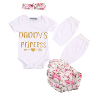 Newborn Baby Girl Letter Cotton Top Short Sleeves Bodysuit+Floral Short Pants+Leg Warmer +Headband Outfit Clothes