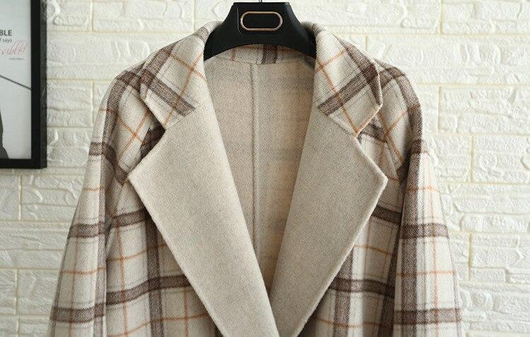 Main Vintage Manteau Mode En Veste Tous Cachemire À La Double Face Mélanges Femmes Plaid Kaki De D'hiver Fait Gruiiceen Laine WE9H2DI