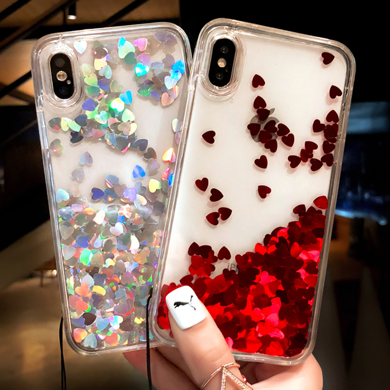 SUYACS Liquid Glitter Quicksand Love Heart Foil For iPhone 6 6S 7 8 Plus X 5S SE Back Cover Transparent Soft TPU Side Phone Case