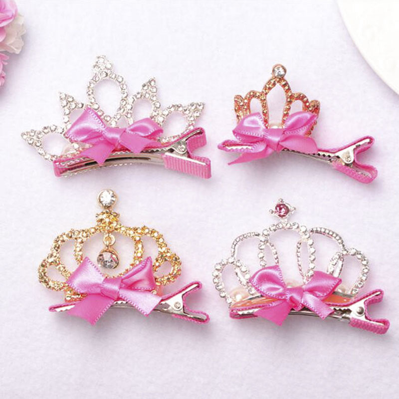 Pink Baby Girls Children Shiny Crown Rhinestone Princess Hairpins Hair Clip Hair Accessories For Christmas gift #S1118-2