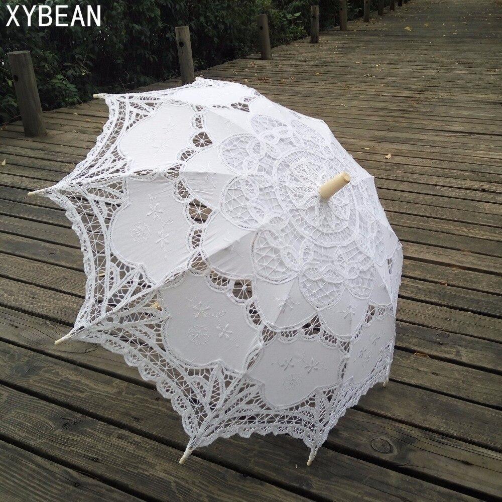 Moda Sol algodón paraguas Bordado novia paraguas battenburg Encaje ...