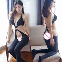 Porno Sexy Lingerie Open Bust Transparent Sleepwear Women Passion costumes Exposed Cleavage Underwear Black Erotic lingerie