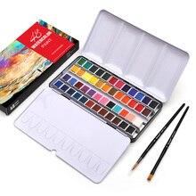 DAINAYW Portable 48Colors Pigment Solid Watercolor Paints Set Tin box Paint Set with 48Colors Half Pan 2 Brush Pen Water paper
