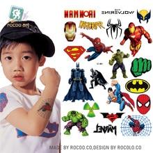 Big Cartoon Spiderman Tatuagem Taty Body Art Temporary Tattoo Stickers Colorful Power Man Super Tatoo Sticker Tatuagem Harajuku