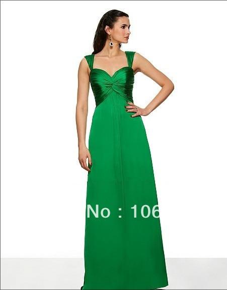 free shipping Satin chiffon A-line sweetheart neckline w/straps open back inverted basque waist floor length   Bridesmaid     Dress