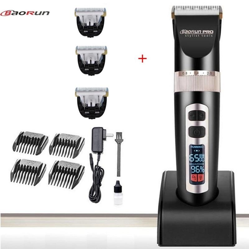 Barber tondeuse à cheveux professionnelle tondeuse hommes électrique cutter cheveux machine de découpe outils LCD Affichage Li-batterie