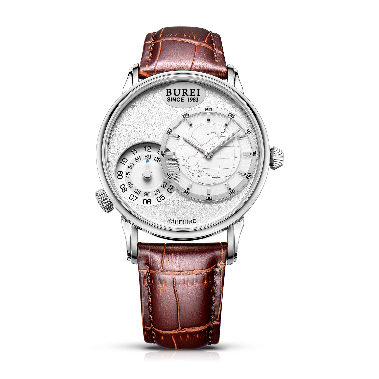 BUREI 5009 Switzerland watches men luxury brand Mens Dual Time Travel Business Casual Watches White Dial Brown Leather Strap