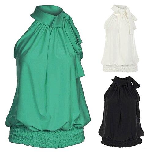 Women Chiffon Sexy Casual Solid Pleated Halter Neck Elastic Hem Sleeveless Vest Tops 2018 New Summer Loose Female Ladies Shirt