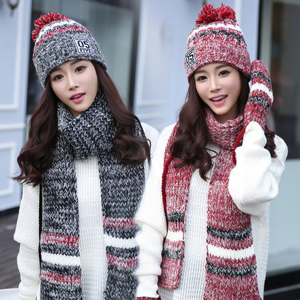 7b6563e3d45 Woman Winter Hat and Gloves Sets Cotton Fashion Women Hat Scarf Gloves Set  Solid Hat and Scarf Set for Women Knitted