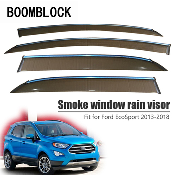 High Quality 4pcs Smoke Window Rain Visor For Ford EcoSport 2018 2017 2016 2015 2014 2013 Vent Sun Deflectors Guard Accessories
