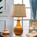Современная американская Ретро Маленькая настольная лампа  прикроватная Светодиодная настольная лампа для спальни  европейская керамичес...