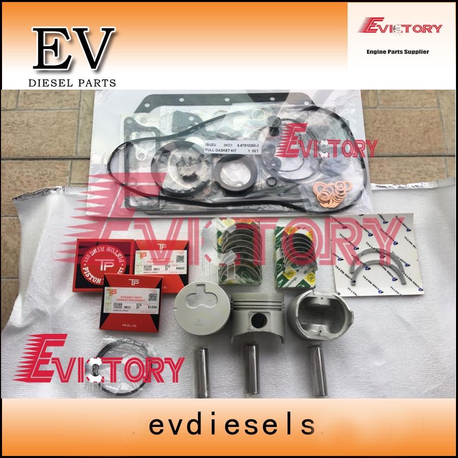 for isuzu 3kc1 engine rebuid kit piston piston ring full gasket kit bearing main con rod bearing [ 900 x 900 Pixel ]