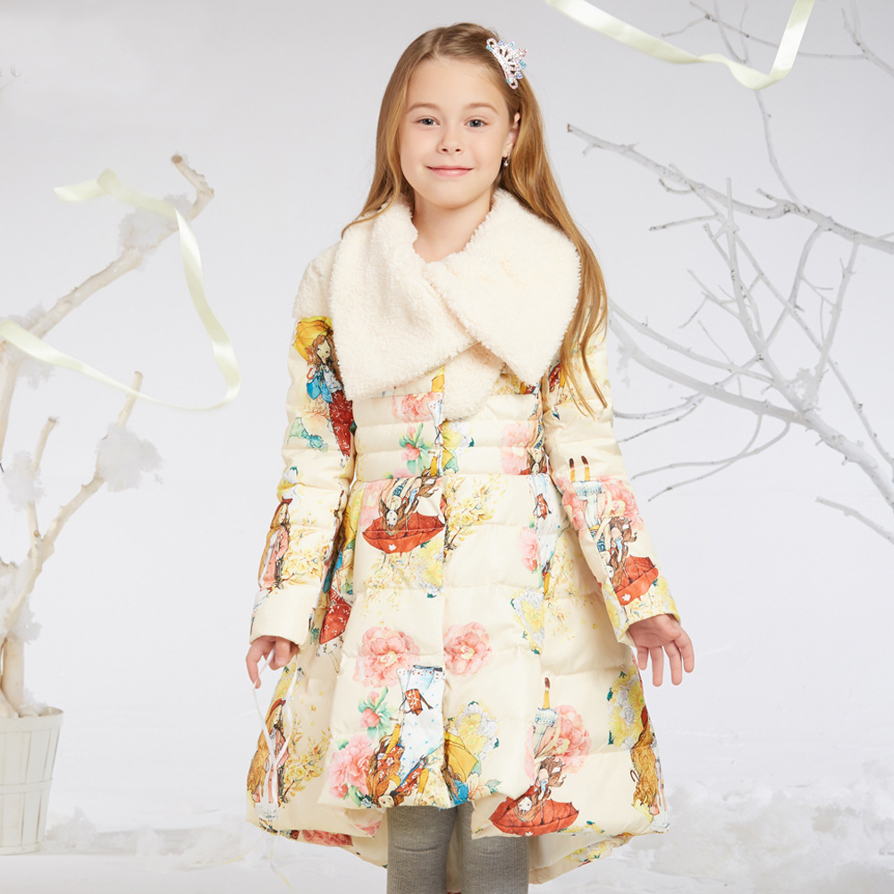 футболка детская armani teen 90028 2015 8 16 8-14Y New Teen Girls Winter Down Jackets Princess Flower Print Big Fur Collar Red Color Kids Down Coats for Christmas New Year