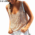 Girl Sequin Tank Top Beads Sequined Vest Silver Sparkle Bling Top Glitters Vest Elastic Tops Tees SWL0041