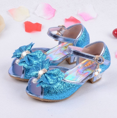 19c5889dbb74 Sequin Glitter Children Elsa Shoes Girls High Heels Pumps Kids Snow Queen  Party Beading Dance Shoes For Girls Sandals With Bow