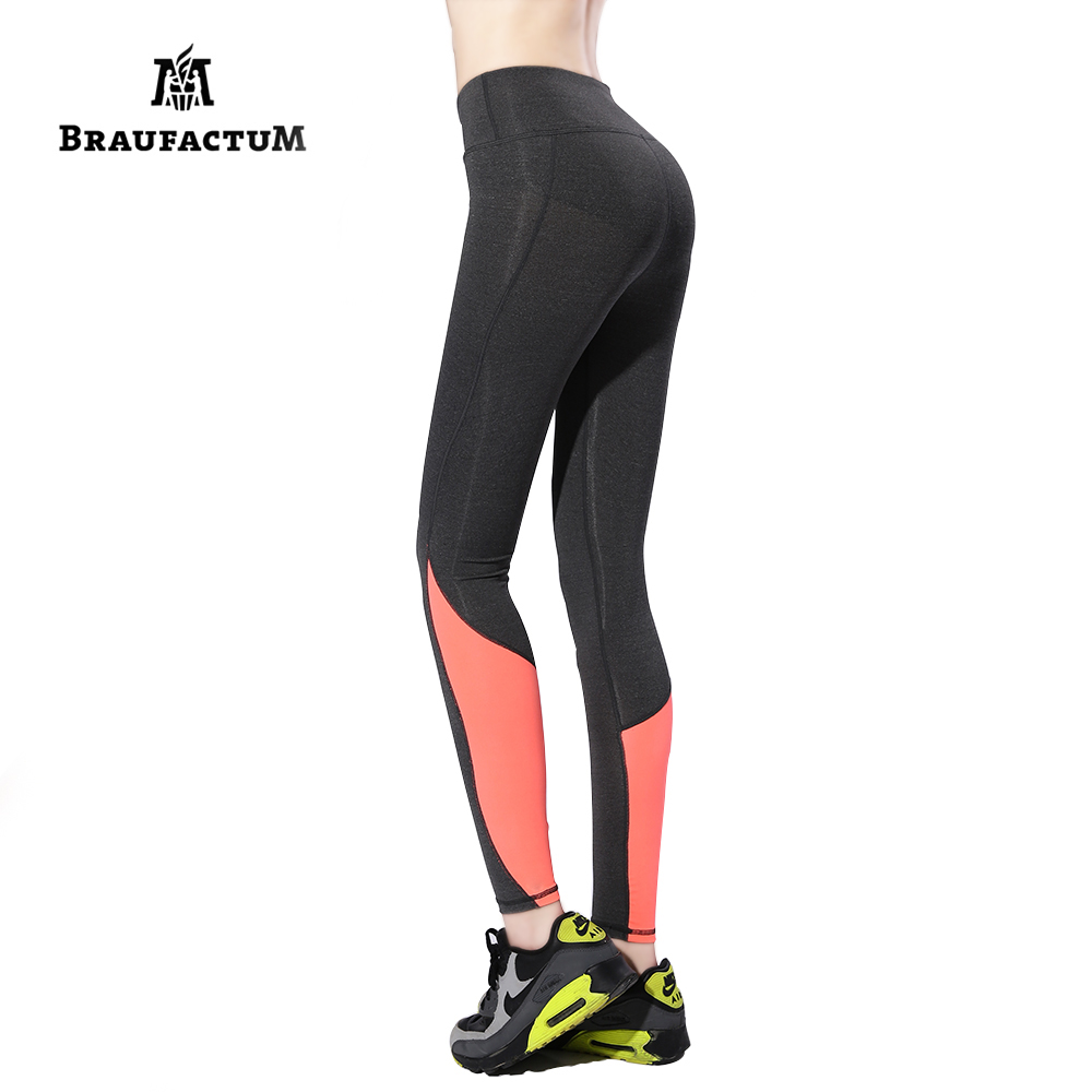 BRAUFACTUM Yoga Leggings Women Elastic Patchwork Sport Pants for Running Gym Fitness Quick Dry Workout Capris Sexy Trousers