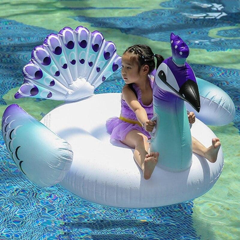 Offre spéciale chaude gonflable paon natation tours flotteur natation anneau flottant piscine eau fête jouets 150*130*130CM