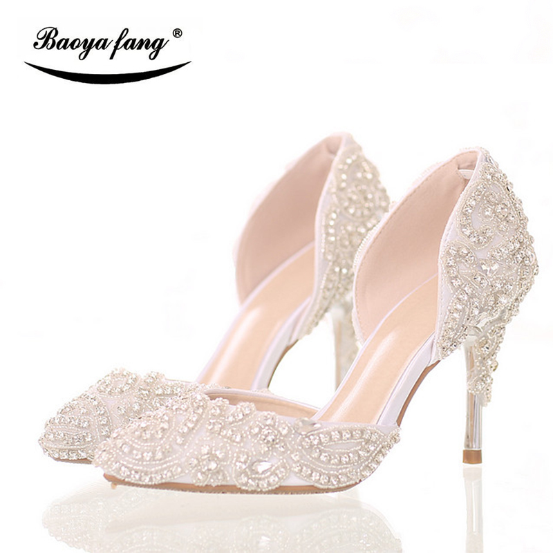 New arrival 9cm thin heel Women wedding shoes pointed toe Bride party shoes Two-piece white lace crystal shoes free shipping sweet women s flat shoes with pointed toe and two piece design