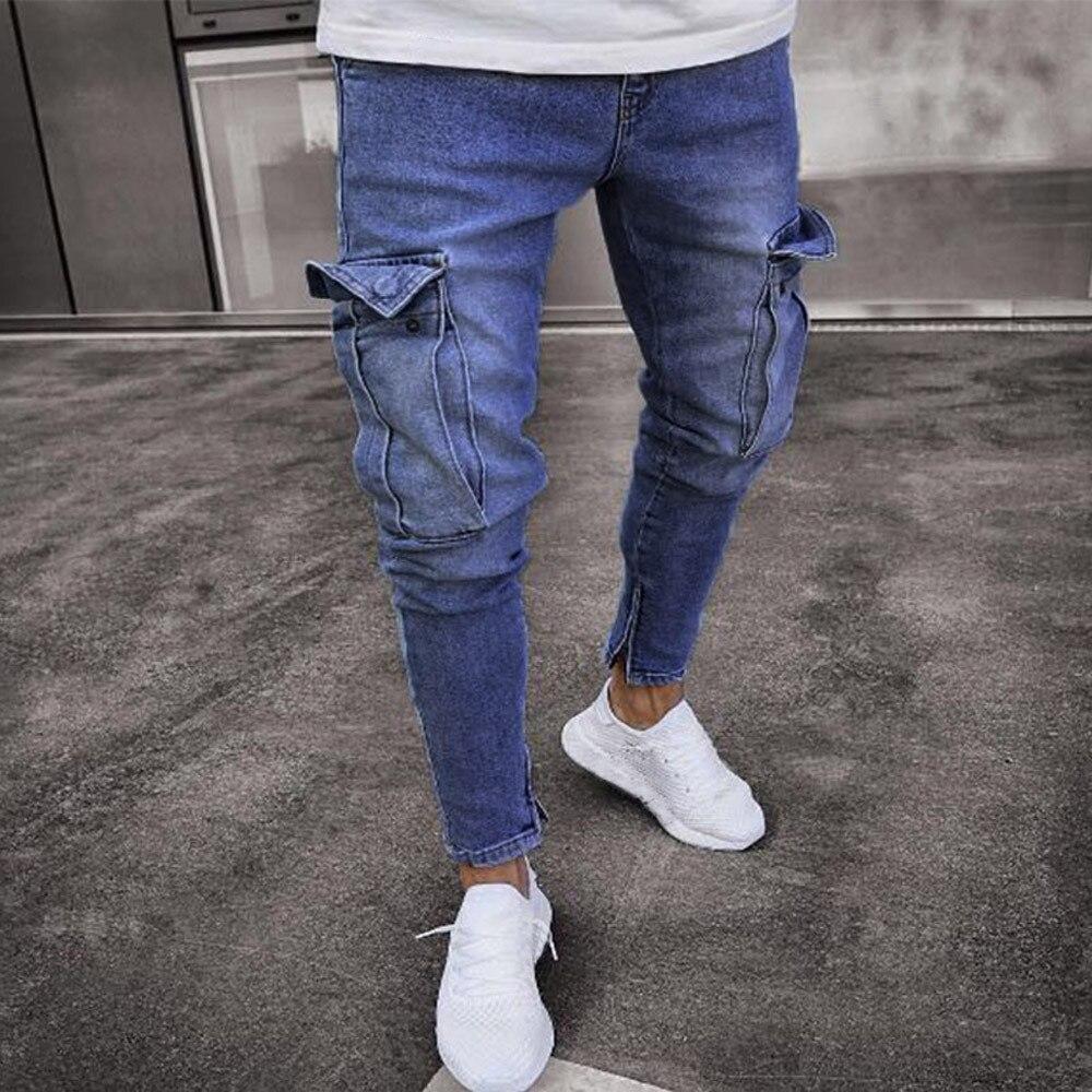 Hombres Jeans Slim Biker Runway Denim Jeans bolsillo flaco Frayed ...