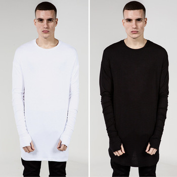hot-selling Thumb Hole Cuffs Long Sleeve Tyga Swag Style Mens Side Split Hip Hop Top Tee T Shirt Crew Wool T-shirt Men Clothes