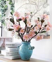 2018 Rushed Sale Decorative Pu Cherry Blossom Artificial Flores Decoration Sakura Fake Flowers Decor Peach Flower Wholesale