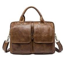 New Men's Briefcase bag men cow Genuine Leather bag