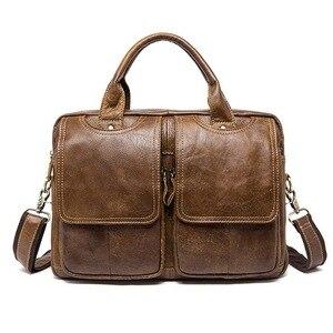 Nowych mężczyzna teczki torba mężczyźni krowa torby z prawdziwej skóry mężczyzna mężczyzna 14 cal torba na laptopa dla mężczyzn teczki skórzane torby