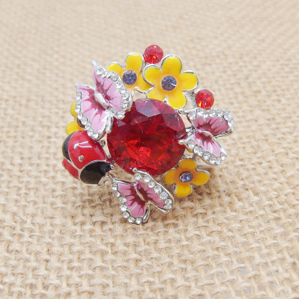 New Hot Sale adjustable Animal Rings white gold Full Crystal Beads Colorful Flowers ring Cute Lady bug Alloy Rings for Women